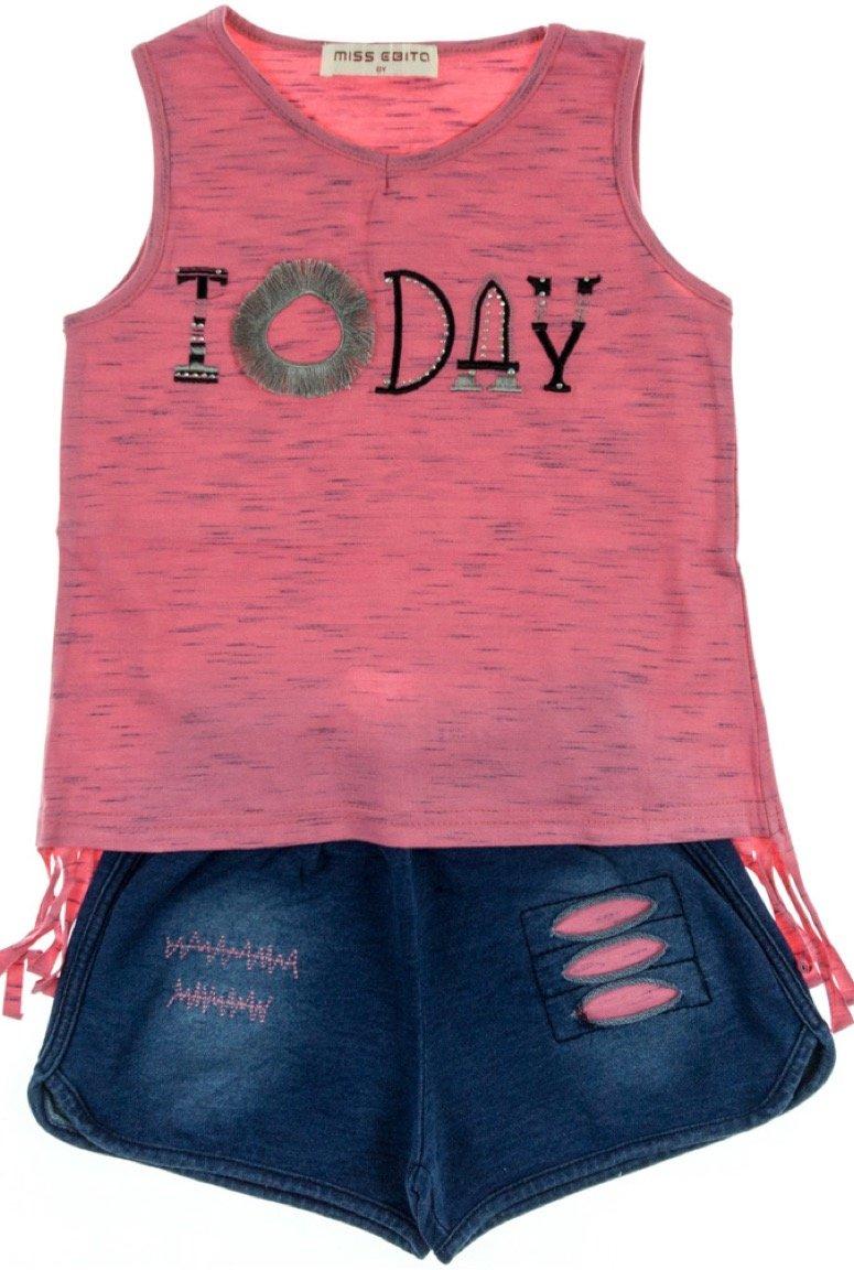 Εβίτα παιδικό σετ μπλούζα-παντελόνι σορτς τζιν «Today»
