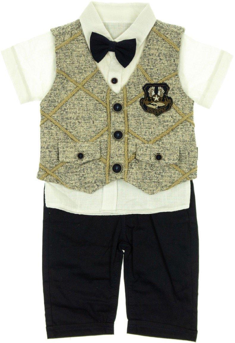 Aras βρεφικό αμπιγιέ σετ γιλέκο-πουκάμισο-παντελόνι «Beige Whipcord»