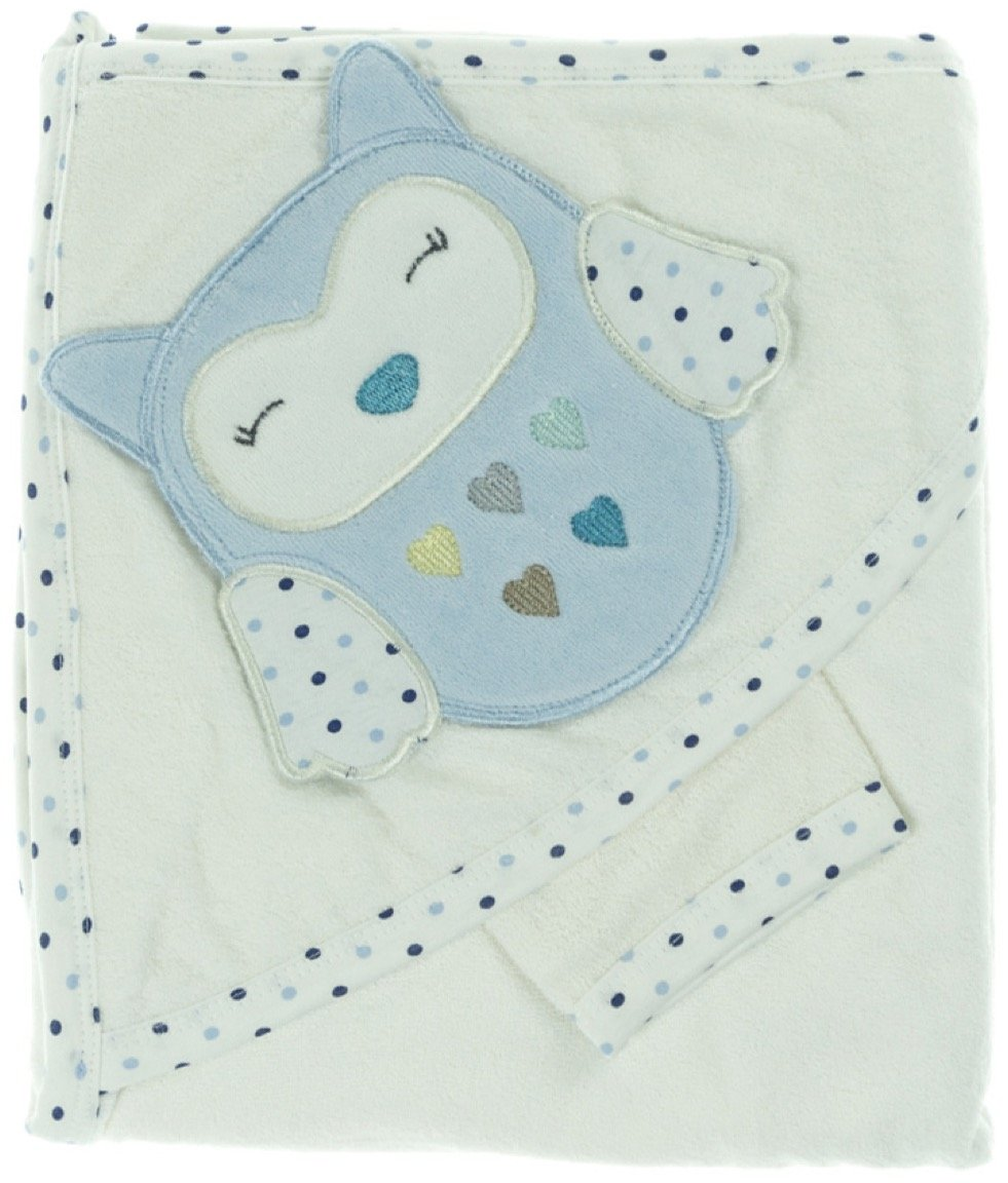 Babyline βρεφική μπουρνουζοπετσέτα & πανάκι μπάνιου «Blue Owl»
