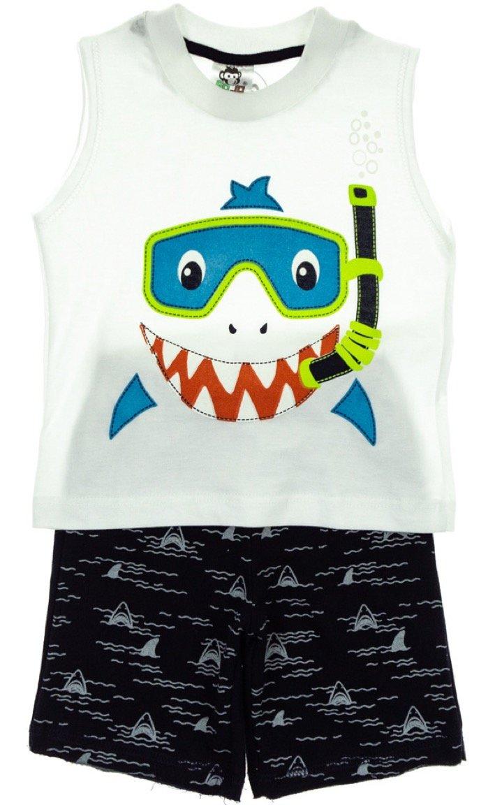 Go Jo παιδικό σετ μπλούζα-παντελόνι σορτς «Happy Shark»