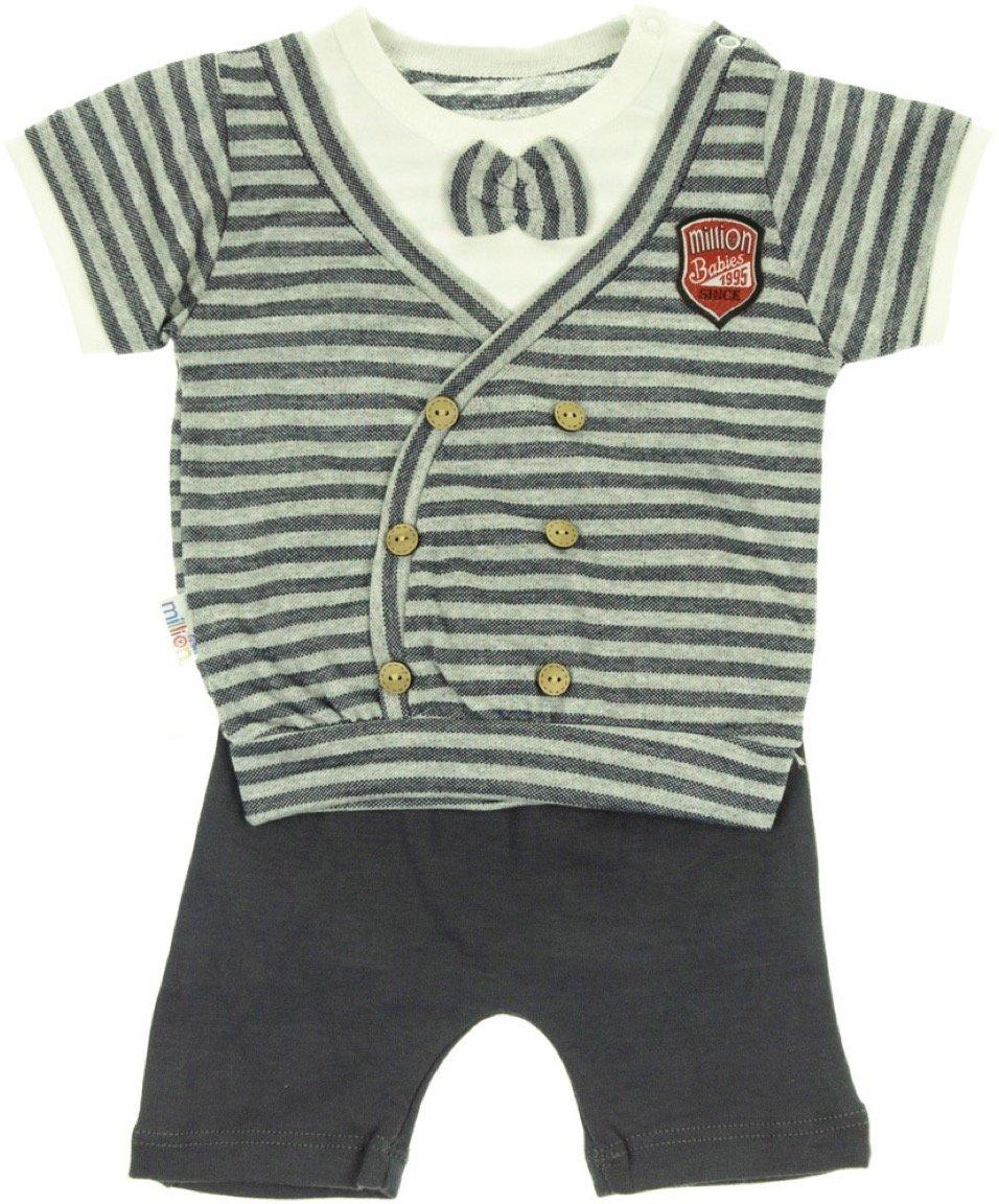 Million Babies βρεφικό σετ μπλούζα-παντελόνι σορτς «Striped»