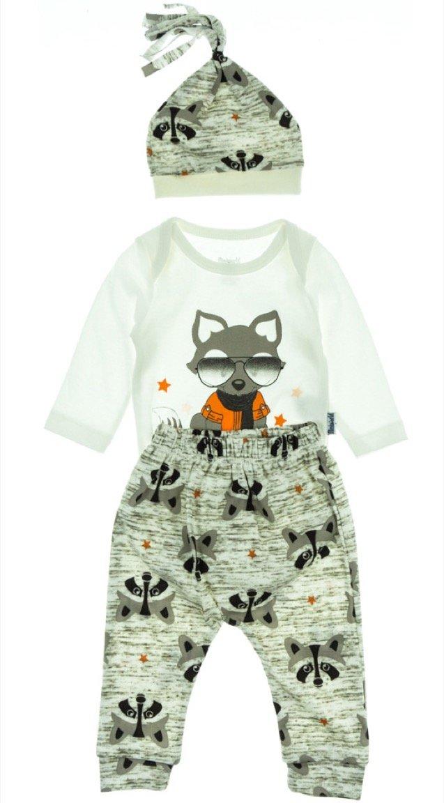 Miniworld βρεφικό εποχιακό σετ κορμάκι-παντελόνι-φουλάρι «Raccoon»