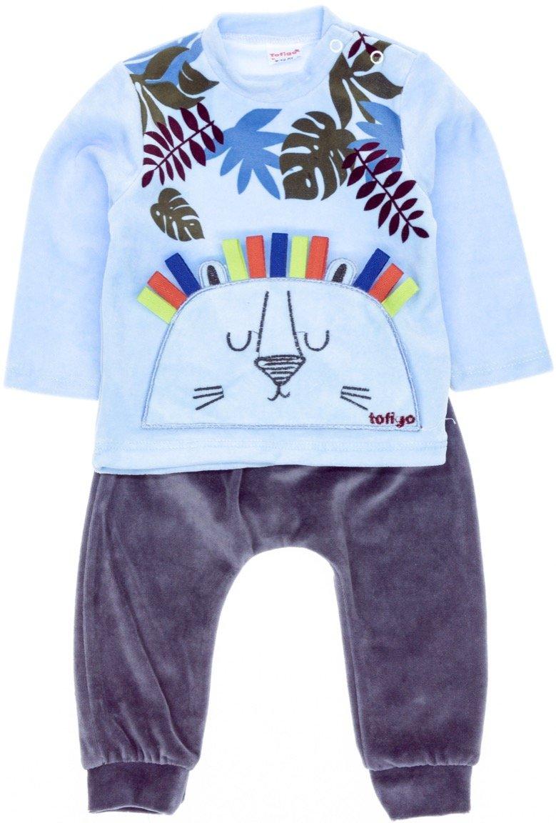 Tofigo βρεφικό βελουτέ σετ μπλούζα-παντελόνι «Lions Mane»