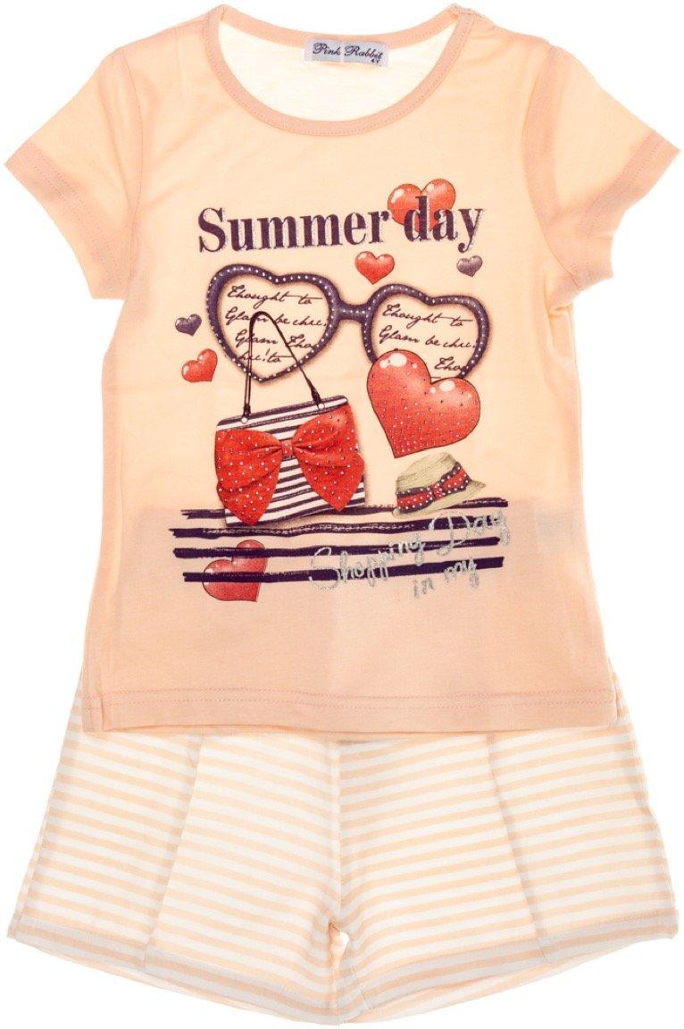Pink Rabbit παιδικό σετ μπλούζα-παντελόνι σορτς «Summer Day»