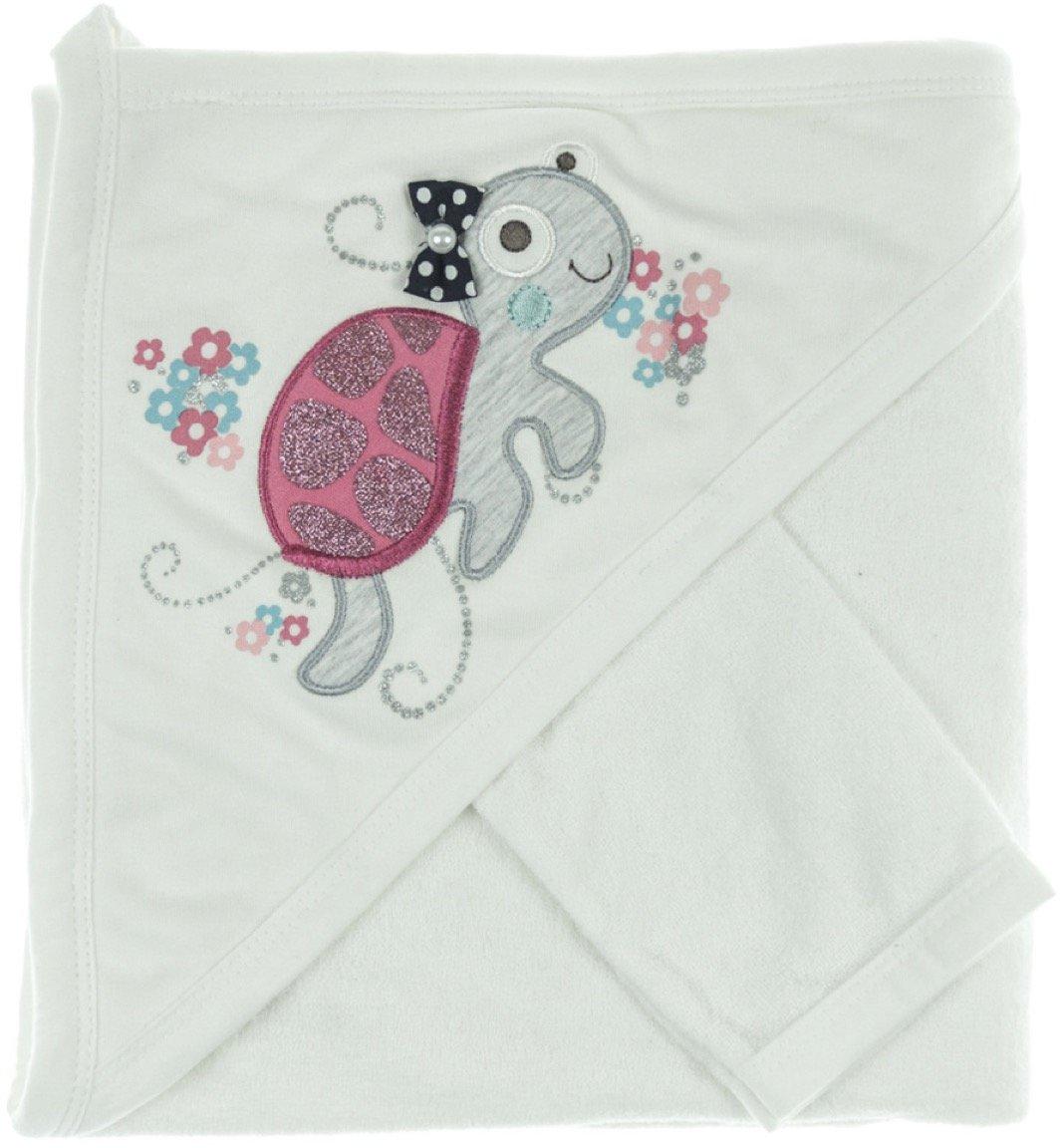 Babyline βρεφική μπουρνουζοπετσέτα & πανάκι μπάνιου «Pink Turtle»
