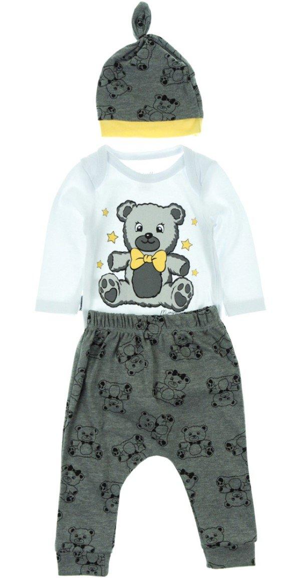 Miniworld βρεφικό εποχιακό σετ κορμάκι-παντελόνι-σκουφάκι «Grey Stars»