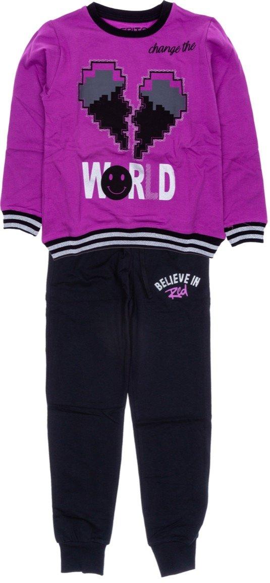Εβίτα παιδικό σετ φόρμα μπλούζα-παντελόνι «World»