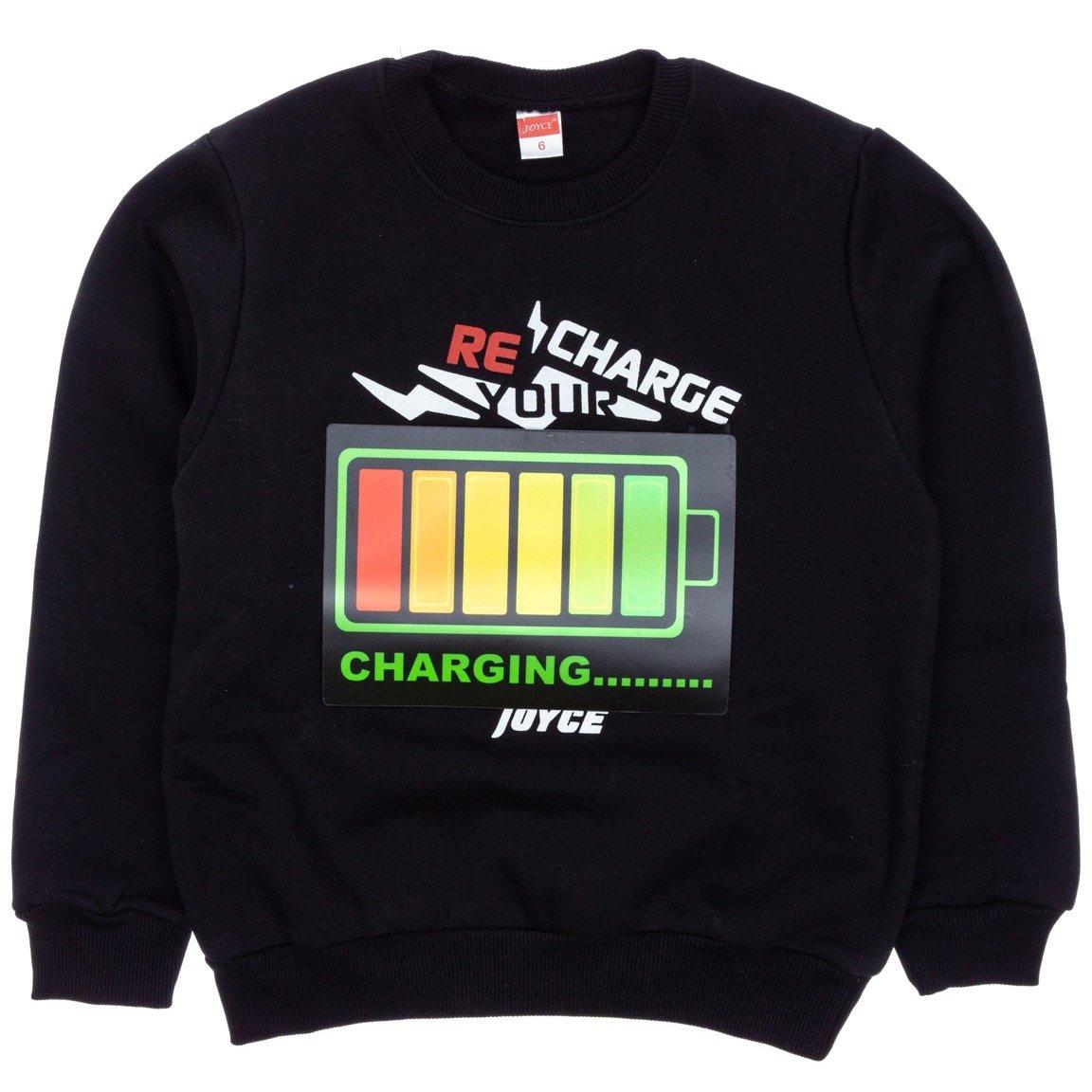 Joyce παιδική εποχιακή μπλούζα φούτερ με φωτάκια «Recharging»
