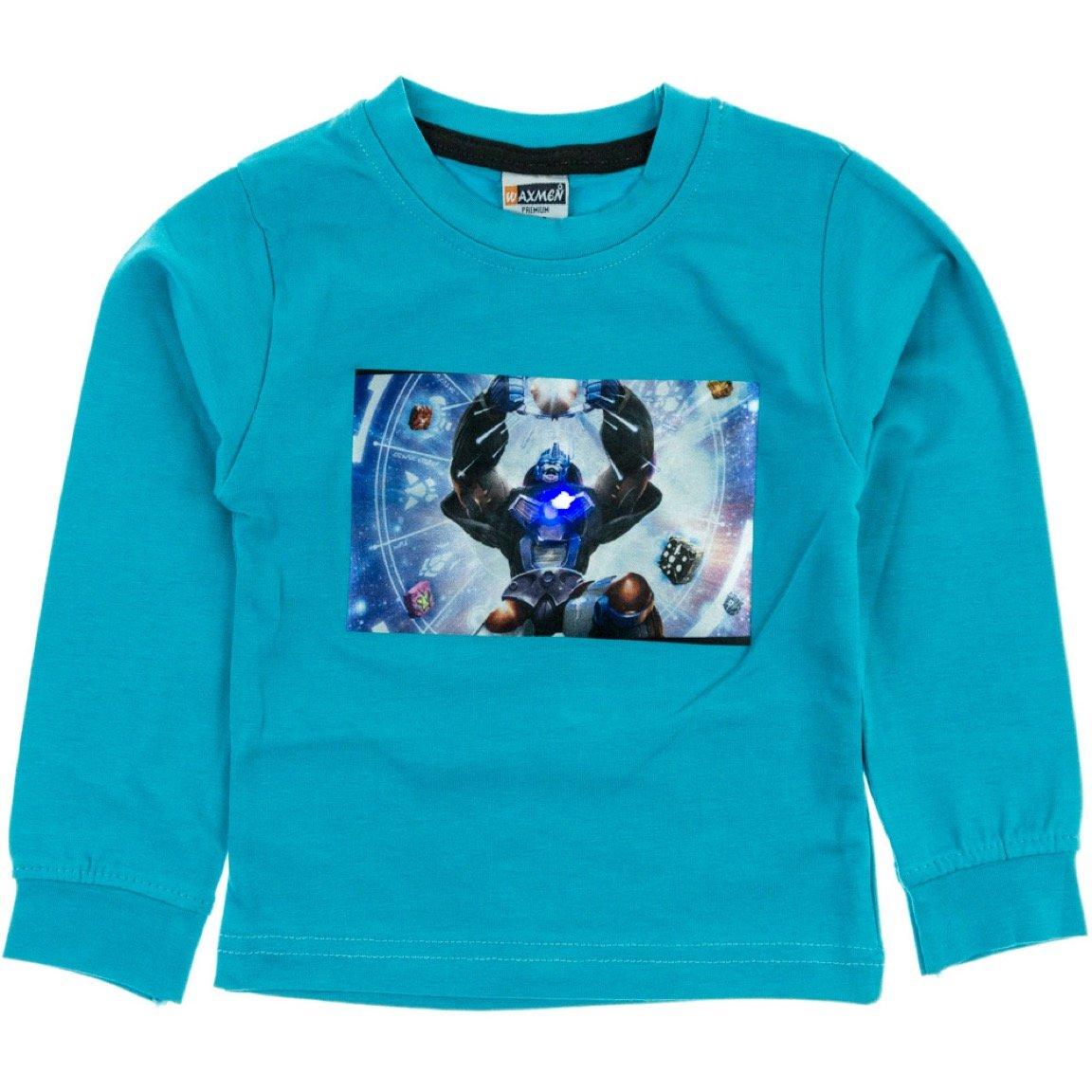 Waxmen παιδική εποχιακή μπλούζα με φωτάκια «Turquoise Robot»