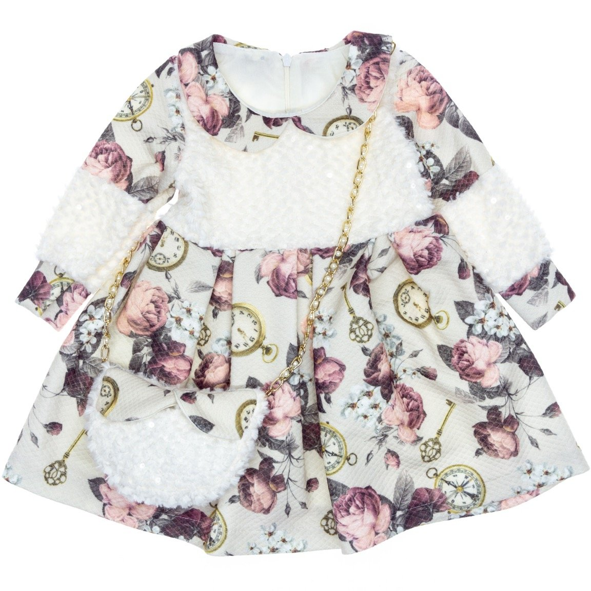 A.Y.D. παιδικό αμπιγιέ φόρεμα & τσαντάκι «Time»