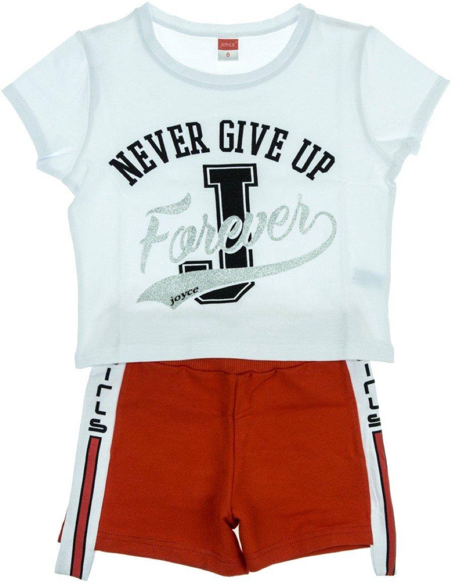 Joyce παιδικό σετ μπλούζα-παντελόνι σορτς «Never Give Up»