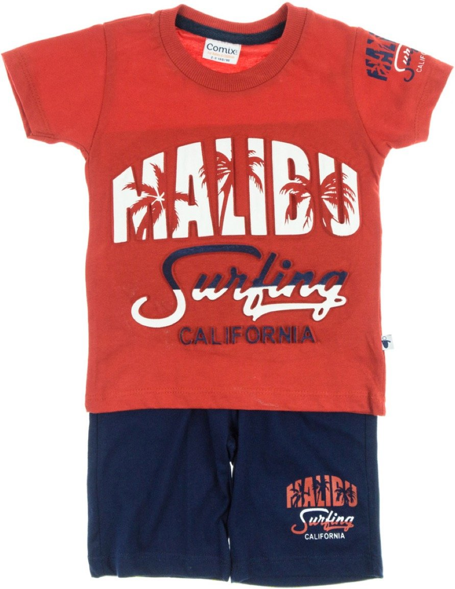 Comix Life παιδικό σετ μπλούζα-παντελόνι βερμούδα «Red Malibu»