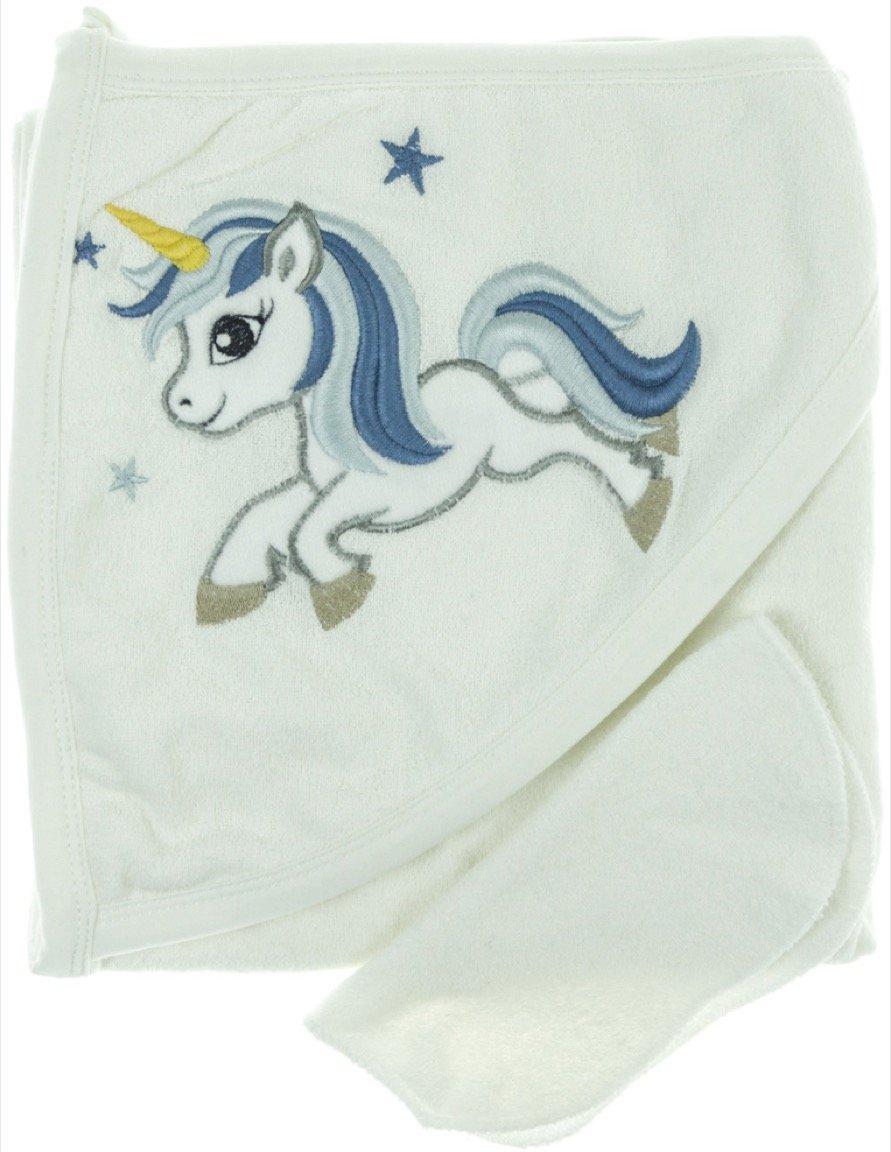 Babyline βρεφική μπουρνουζοπετσέτα & πανάκι μπάνιου «Blue Unicorn»