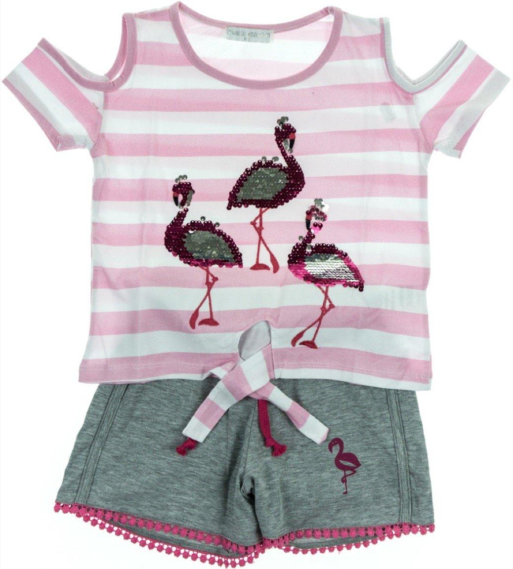 Εβίτα παιδικό σετ μπλούζα-παντελόνι σορτς «Flamingo Fashion»