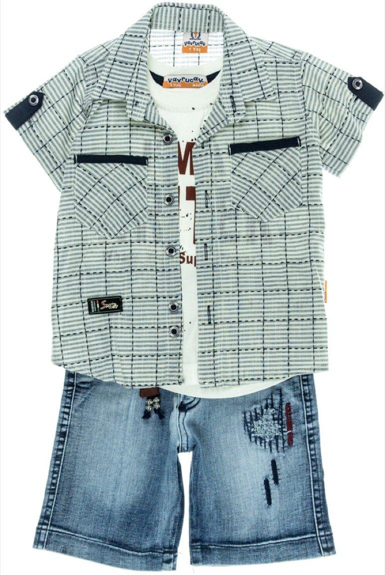 Yayrucac παιδικό σετ πουκάμισο-μπλούζα-βερμούδα τζιν «Writer»