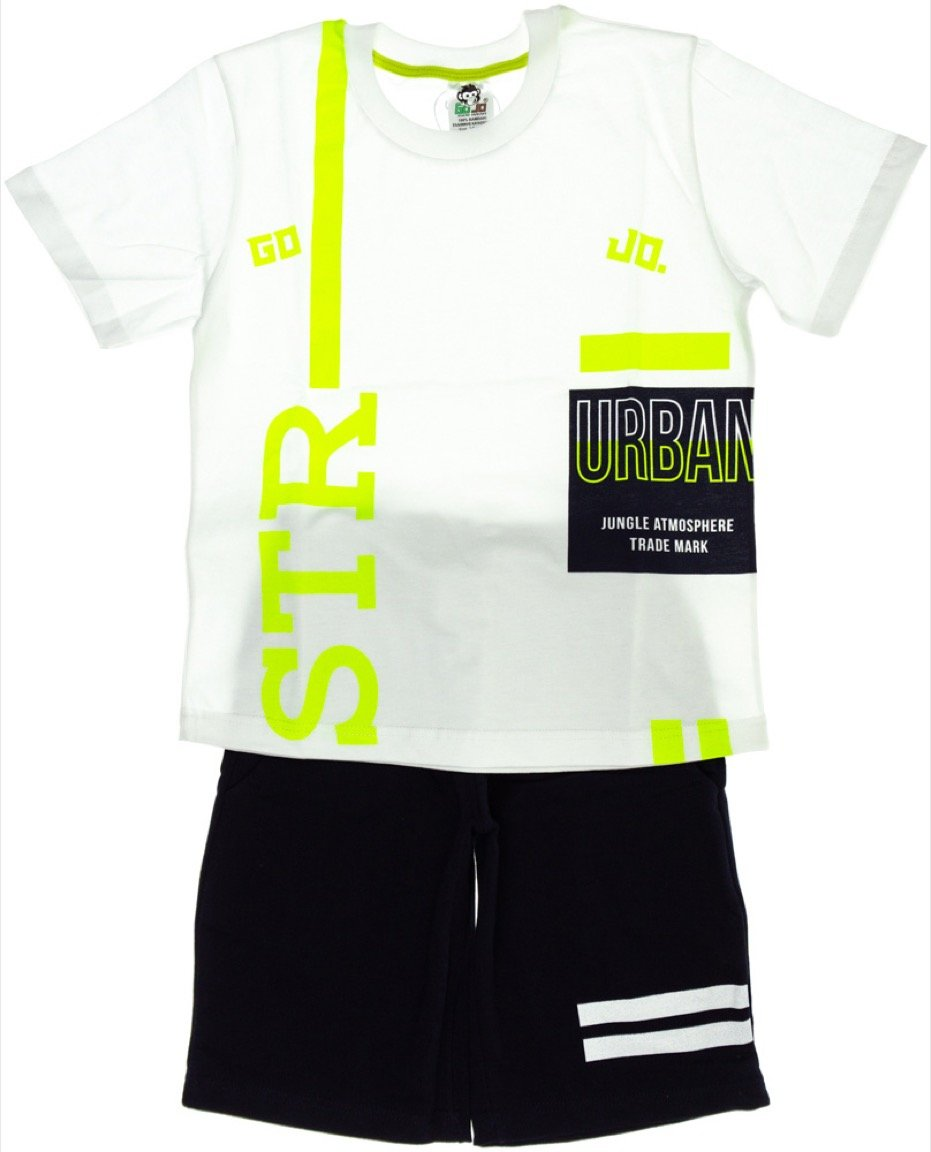 Go Jo παιδικό σετ μπλούζα-παντελόνι βερμούδα «White STR»