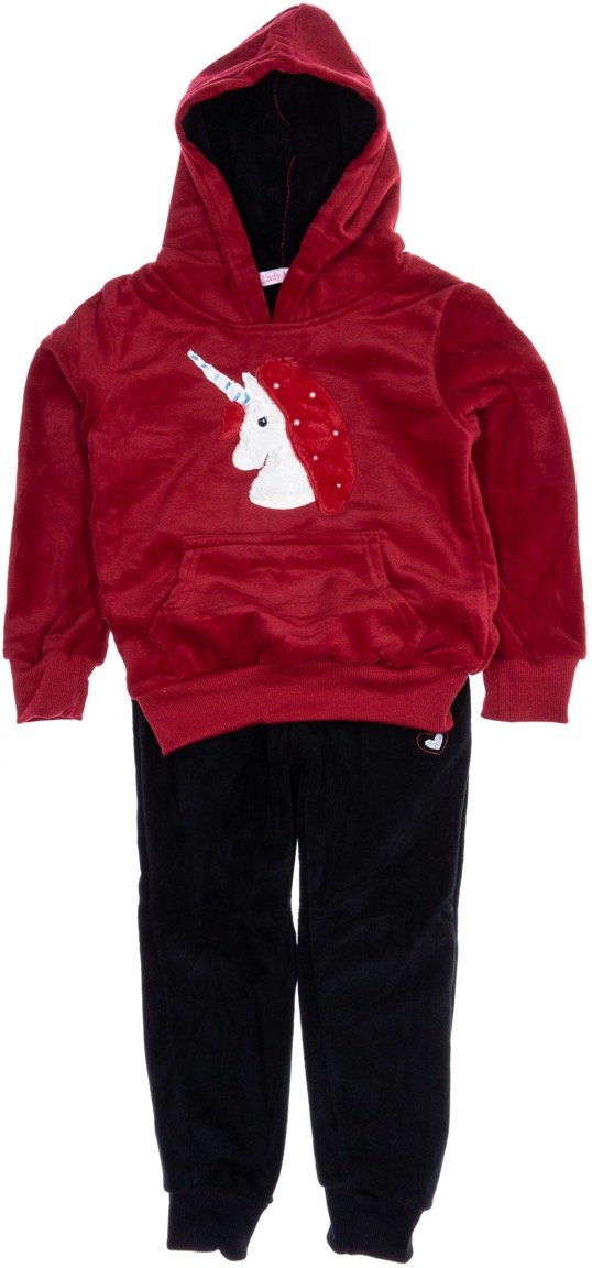 Lady Moda παιδικό βελουτέ σετ φόρμα μπλούζα-παντελόνι «My Unicorn»