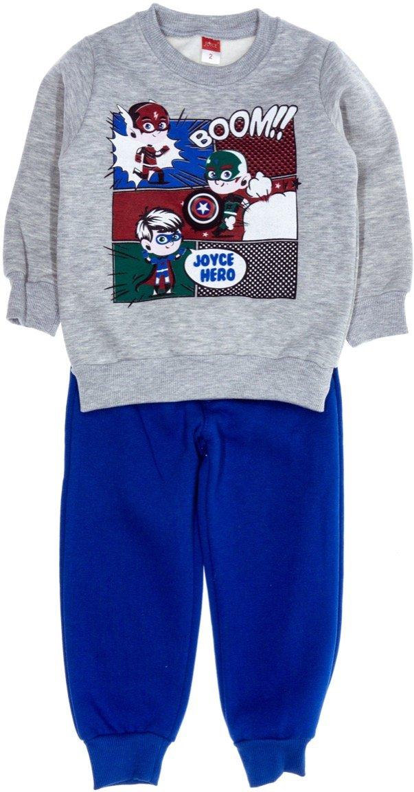 Joyce παιδικό σετ φόρμα μπλούζα με φωτάκι - παντελόνι «Grey Boom»