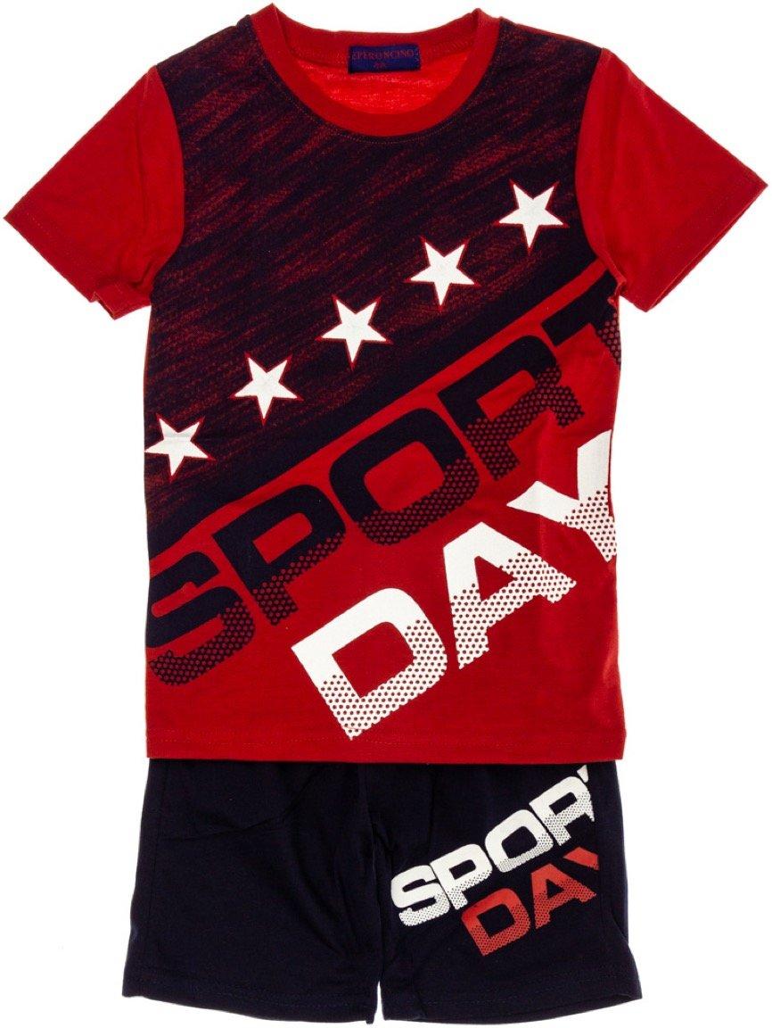 Peperoncino παιδικό σετ μπλούζα (στενή γραμμή)-βερμούδα «Sport Day»