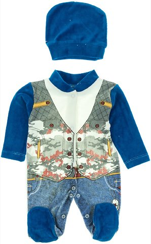 Minjoy βρεφικό βελουτέ φορμάκι και σκουφάκι «Serious» - Παιδικά ρούχα 4f0b0616403