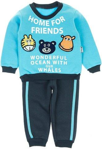 f55831a488c Eymus βρεφικό σετ φόρμα μπλούζα-παντελόνι «Home For Friends» - b2b.AZshop.gr