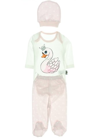 Pearly βρεφικό σετ κορμάκι-παντελόνι-σκουφάκι «Pink Swan» - Παιδικά ρούχα f00a21a0b27