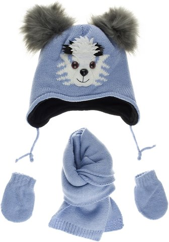 Kitti βρεφικό πλεκτό σετ σκουφί-κασκόλ-γάντια «Smart Light Blue» - Παιδικά  ρούχα 1425f834522