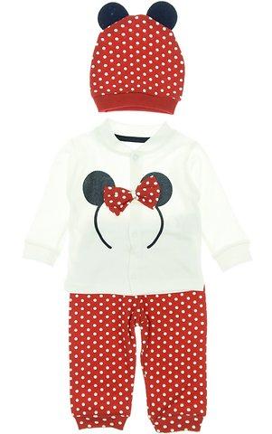 Beyaz βρεφικό εποχιακό σετ μπλούζα-παντελόνι-σκουφάκι «Red Mouse» - Παιδικά  ρούχα 5aa8c941fae