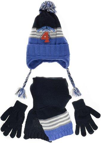 Kitti πλεκτό σετ σκουφί-κασκόλ-γάντια «Blue Number Four» - Παιδικά ρούχα 948978c3ea0