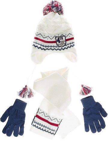Kitti πλεκτό σετ σκουφί-κασκόλ-γάντια «White Fourth» - Παιδικά ρούχα ... 9ffc9373529