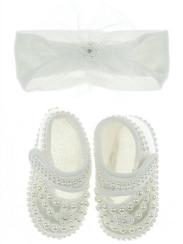a9dd6384d49 Eto βρεφικά παπουτσάκια αγκαλιάς & κορδέλα μαλλιών «Pearls & Strass» -  b2b.AZshop.gr