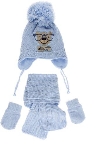 Kitti βρεφικό πλεκτό σετ σκουφί-κασκόλ-γάντια «A Little Bear» - Παιδικά  ρούχα 6d5a37a77e2