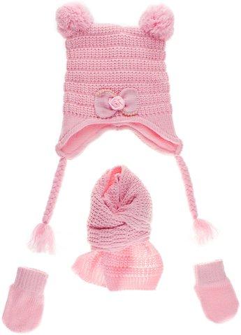 9b9d20dcc09 Kitti βρεφικό πλεκτό σετ σκουφί-κασκόλ-γάντια «Pink Bonny» - b2b.AZshop.gr