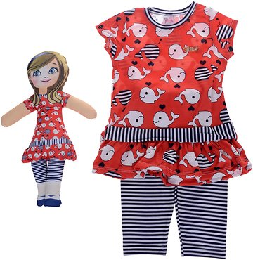 Pink Girl παιδικό σετ μπλούζα-παντελόνι   δώρο κούκλα