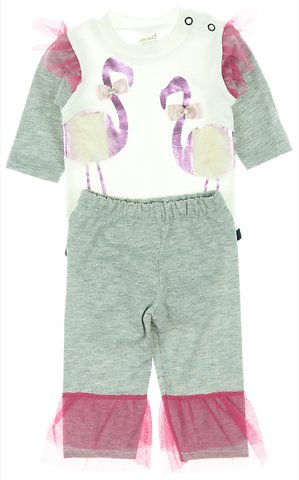 Jikko βρεφικό εποχιακό σετ κορμάκι-παντελόνι «The Flamingos» - b2b.AZshop.gr cc2379b508a